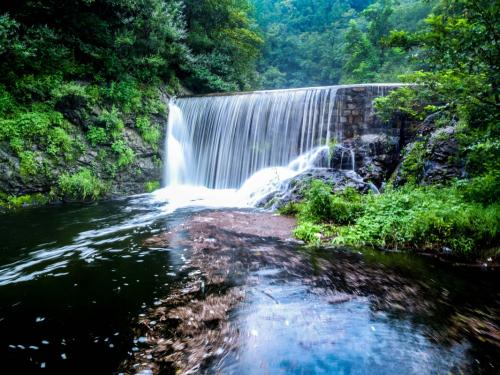 这是7月20日拍摄的山东省邹平县鹤伴山森林公园一景,这里是当地居民生活用水的水源地,也是该县山区小流域水系治理的成果。新华社发(张可荣 摄)