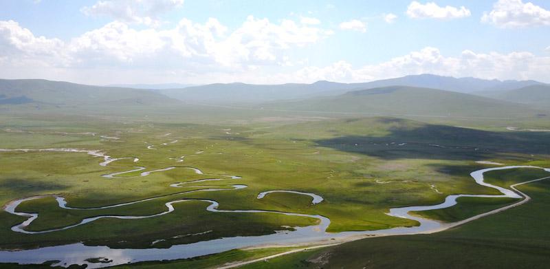 这是7月18日拍摄的甘肃省甘南藏族自治州碌曲县郭莽湿地。