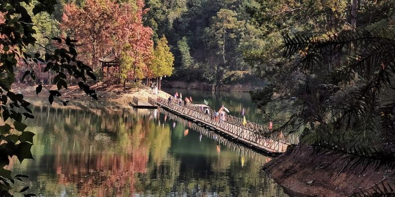 游人漫步阳明湖景中,宛如诗画中人。