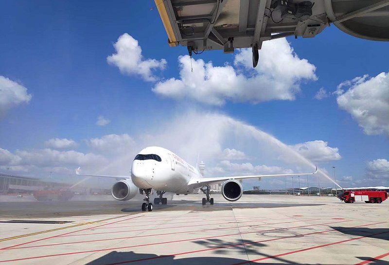 上海浦东国际机场头首航仪式-过水门