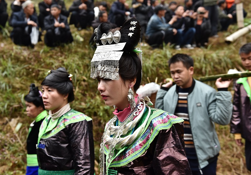 2020年11月16至18日,貴州省黔東南苗族侗族自治州從江縣加勉鄉黨港村舉行24年一度鼓藏節活動。圖為鼓藏家族隨同鼓藏牛轉牛塘祭祖