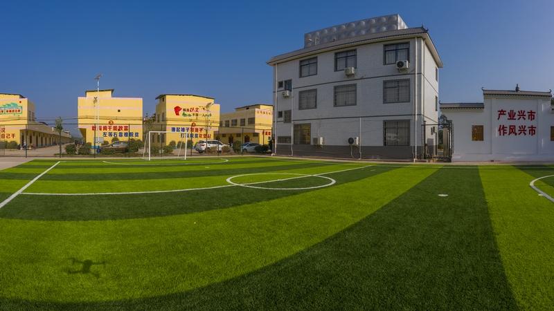 13、金鸡一幢幢崭新的移民新居与绿色球场构成一幅风景(何华文)