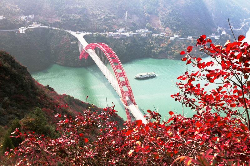 图9:游轮驶入巫峡神女景区赏红叶  唐探峰摄