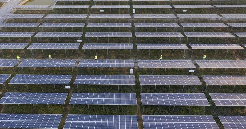 10、2020年12月10日,鸟瞰广西梧州市蒙山县桐油坪工业园区集中式光伏发电项目产业园,整齐的光伏叶片在蓝天白云下相映成一幅画卷,工人们正在清扫叶片。