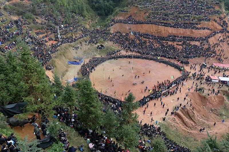 贵州从江斗牛大战万人围观