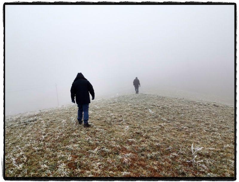 1月8日,海拔2200米,零下3.7摄氏度,滇东北云里雾里冰里,当地电力工人对线路开展特巡特维。(杨小明)