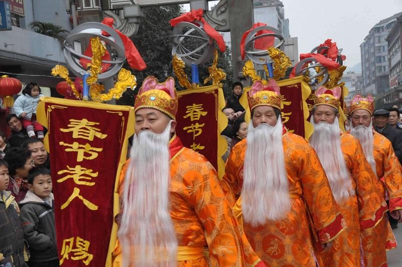 春节之乡的春节老人赐福