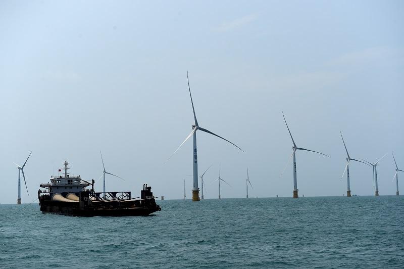 阳西沙扒近海海域海底地质条件优越,众多发电企业抢滩建设海上风电机组。图为三峡新能源阳江发电有限公司机组建设现场。