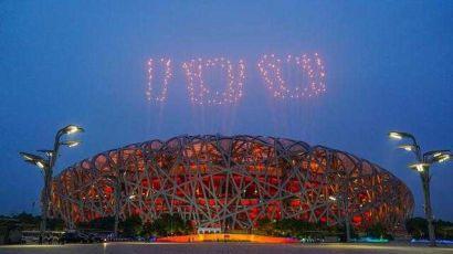 北京:焰火盛放在国家体育场上空(图)