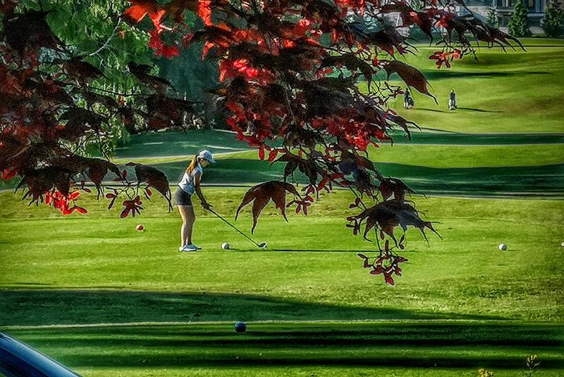 清凉夏日温哥华在打高尔夫的姑娘