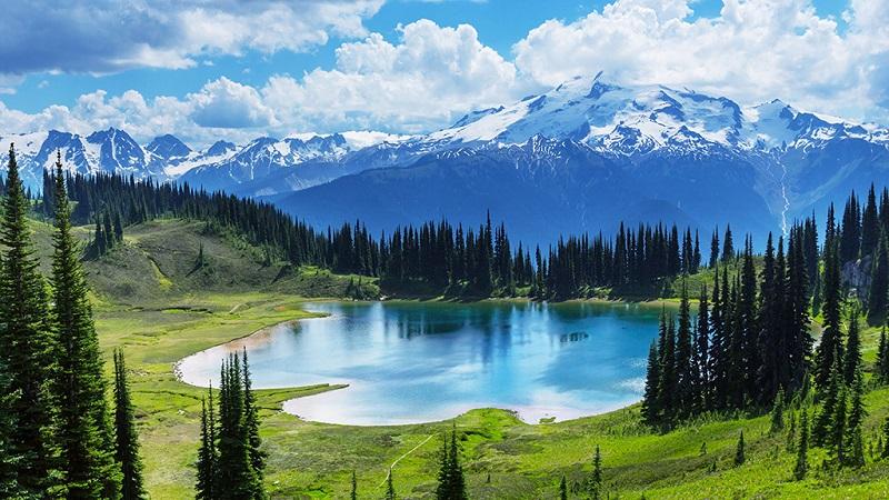 班芙国家公园湖泊森林