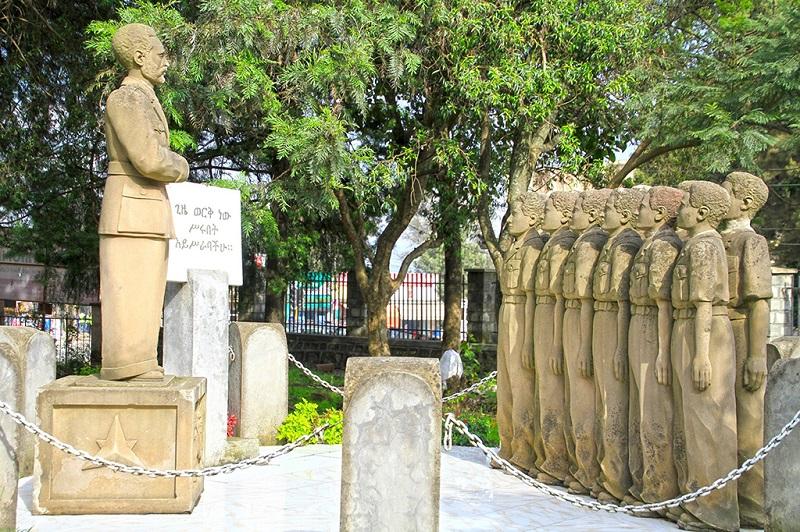 国家博物馆花园里的海尔.塞拉西国王给军人演讲雕像