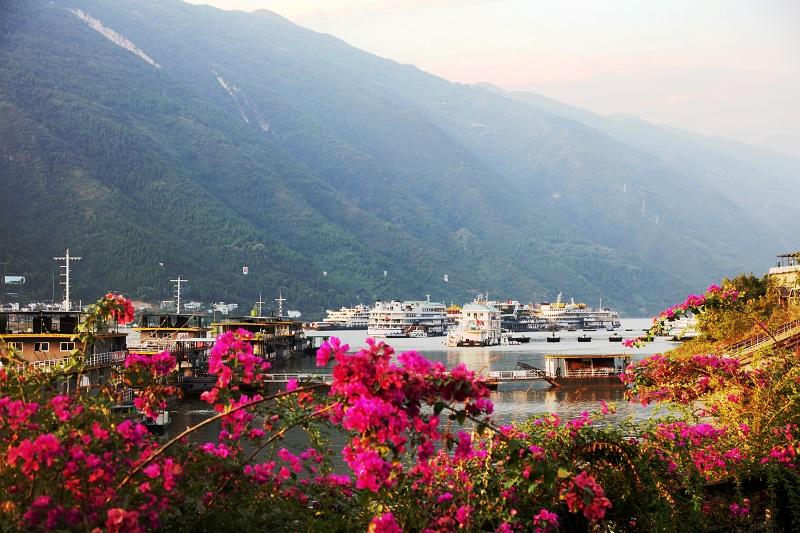 图6:美丽繁华的巫山港区旅游码头一隅。2021年10月3日,摄于重庆巫山港区码头。唐探峰